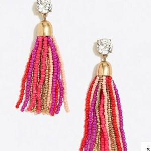 🔥NWT JCrew VibrantFushciaBeaded Streamer Earrings